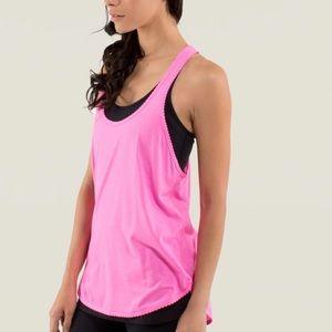 """Lululemon 105 F Singlet Pink w/ Sliver stripes """"8"""""""